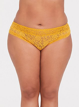Plus Size Mustard Yellow Lacey Thong Panty, MINERAL YELLOW, hi-res