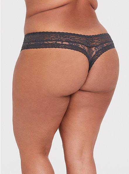 Dark Grey Lacey Thong Panty , MAGNET, alternate