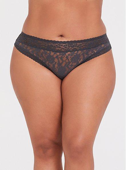 Dark Grey Lacey Thong Panty , MAGNET, hi-res