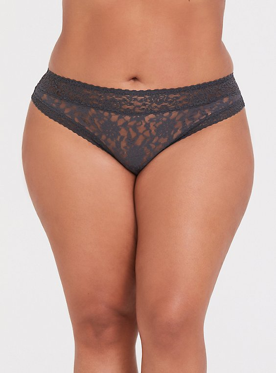 Dark Grey Lacey Thong Panty , , hi-res