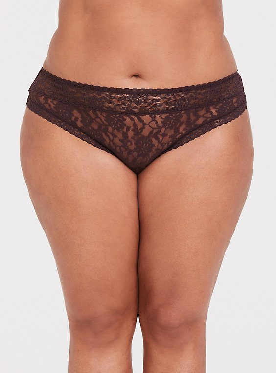 Plus Size Raisin Brown Lacey Thong Panty, , hi-res