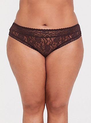 Plus Size Raisin Brown Lacey Thong Panty, CHOCOLATE RAISIN BROWN, hi-res