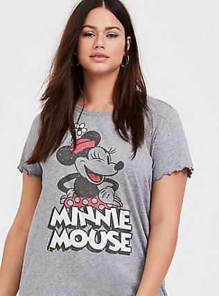 Plus Size Disney Minnie Mouse Heathered Grey Crew Top, HEATHER GREY, hi-res