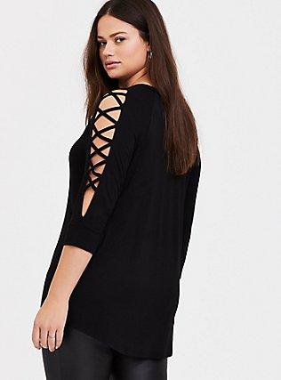 Disney Tangled Mother Knows Best Black Lattice Sleeve Top, DEEP BLACK, alternate