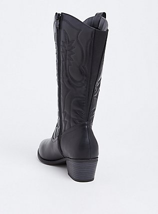 Black Faux Leather Stitched Tall Western Boot (WW), BLACK, alternate