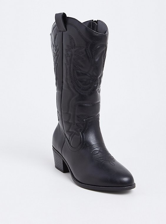 Plus Size Black Faux Leather Stitched Tall Western Boot (WW), , hi-res