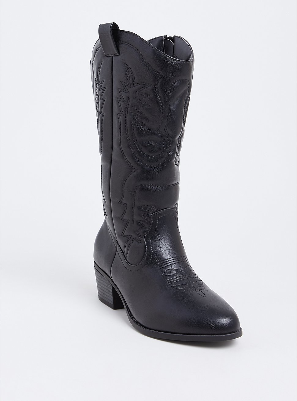 Black Faux Leather Stitched Tall Western Boot (WW), BLACK, hi-res