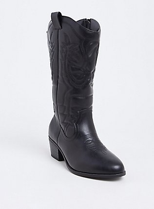 Black Faux Leather Stitched Tall Western Boot (Wide Width), BLACK, hi-res