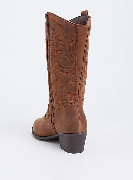 Brown Faux Leather Stitched Knee-High Western Boot (WW & Wide To Extra Wide Calf), BROWN, alternate