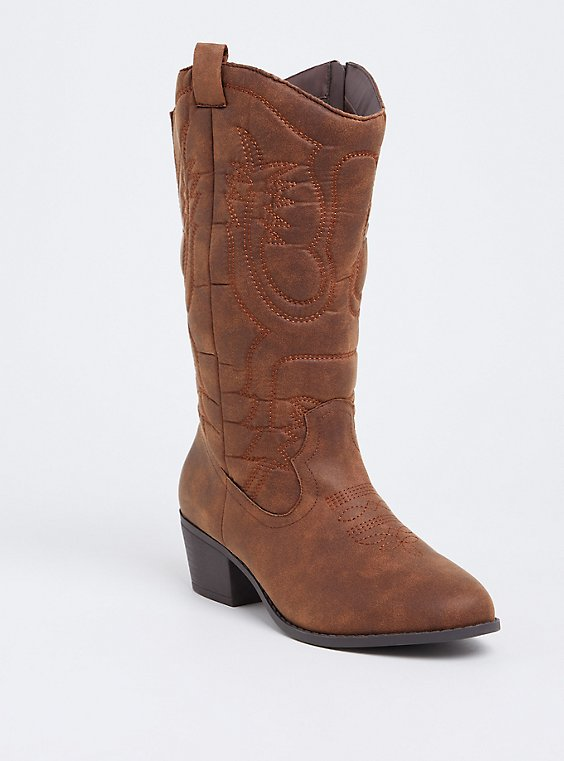 Brown Faux Leather Stitched Knee-High Western Boot (Wide Width & Wide To Extra Wide Calf), , hi-res