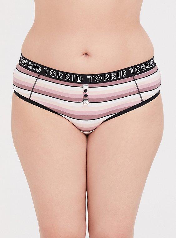Plus Size Torrid Logo Mauve Pink Striped Cotton Boyfriend Hipster Panty, , hi-res
