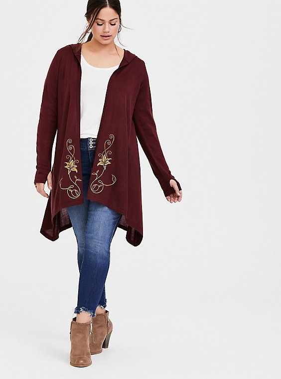 Plus Size Disney Tangled Mother Gothel Embroidered Hooded Draped Front Cardigan, , hi-res