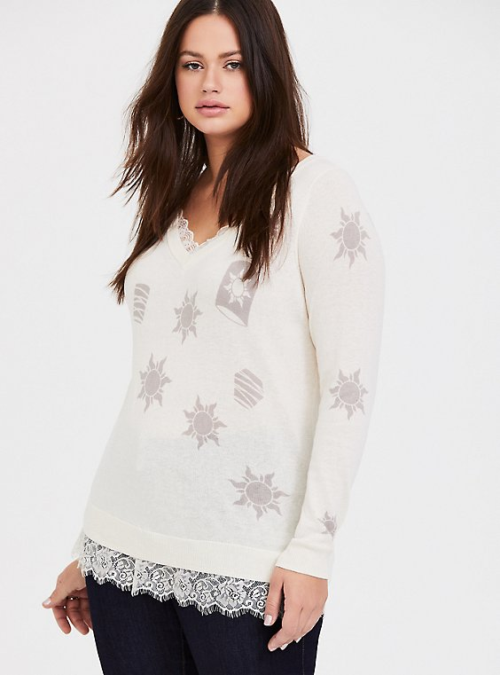 Plus Size Disney Tangled Sun & Lantern Ivory Lace Sweater, , hi-res