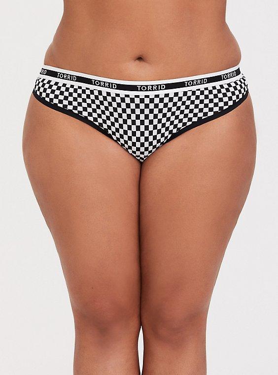 Torrid Logo Black & White Checkered Cotton Thong Panty, , hi-res