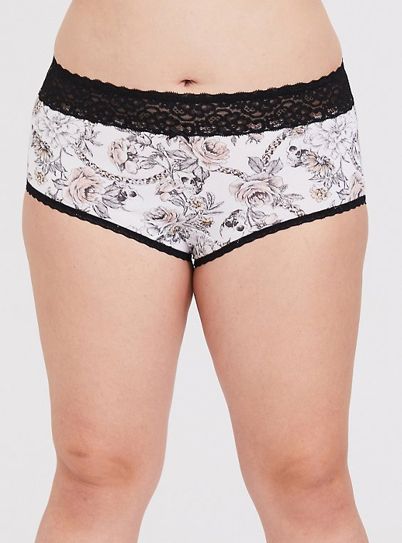 Plus Size White Skull Floral & Black Wide Lace Cotton Sexy Brief Panty, , hi-res