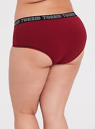 Torrid Logo Dark Red Cotton Cheeky Panty, BIKING RED, alternate
