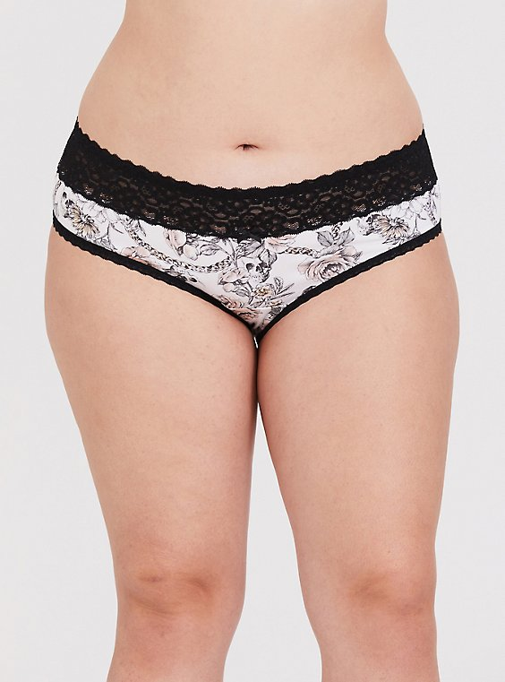 White Skull Floral Wide Lace Cotton Hipster Panty, , hi-res