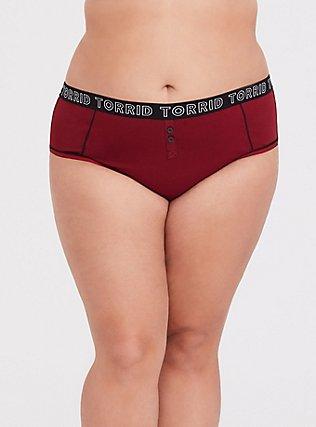 Plus Size Torrid Logo Dark Red Cotton Hipster Panty, BIKING RED, hi-res