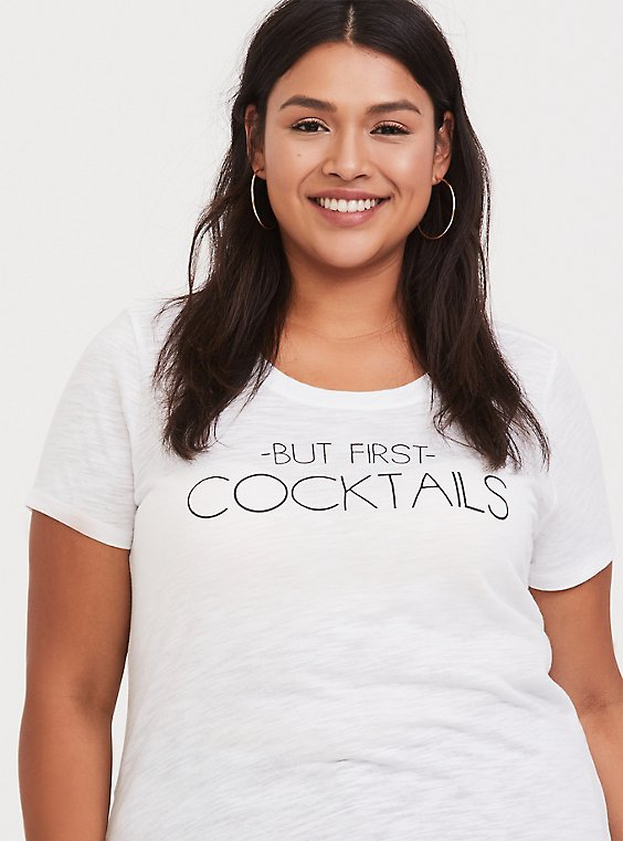 But First Cocktails White Slim Fit Crew Tee, , hi-res