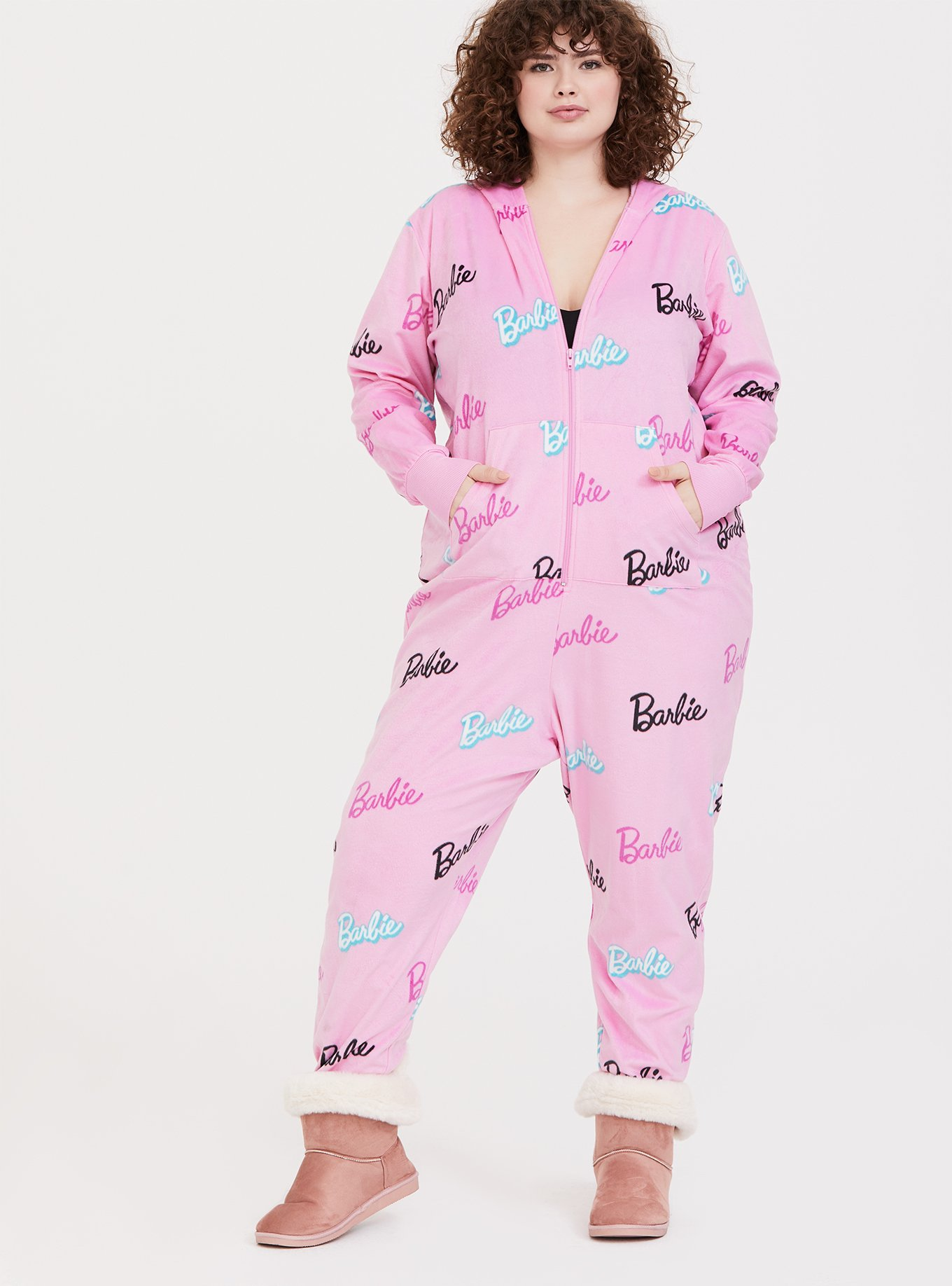 Barbie Logo Pink Fleece Sleep Onesie by Torrid