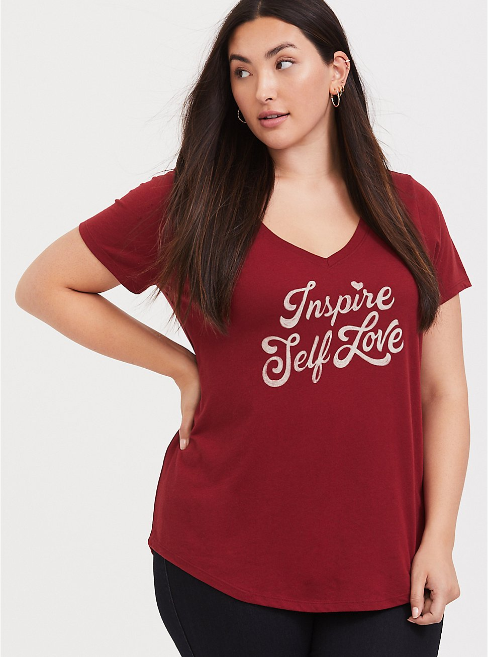 Plus Size Inspire Self Love Dark Red Classic Fit V-Neck Tee, BIKING RED, hi-res