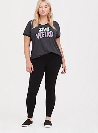 Stay Weird Dark Grey Classic Fit Ringer Tee, CHARCOAL, alternate