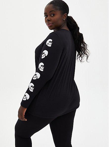 Black Skull Graphic Slim Fit Long Sleeve Tee, DEEP BLACK, alternate