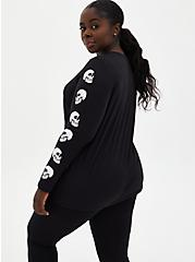 Black Skull Graphic Slim Fit Long Sleeve Tee, DEEP BLACK, alternate