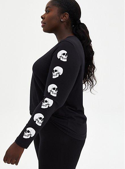 Black Skull Graphic Slim Fit Long Sleeve Tee, DEEP BLACK, hi-res