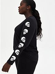 Black Skull Graphic Slim Fit Long Sleeve Tee, DEEP BLACK, hi-res