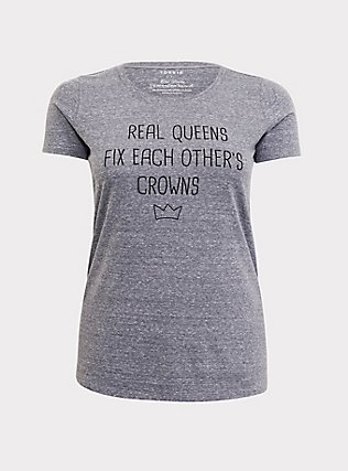 Real Queens Grey Slim Fit Crew Tee, MEDIUM HEATHER GREY, flat