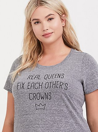 Real Queens Grey Slim Fit Crew Tee, MEDIUM HEATHER GREY, hi-res