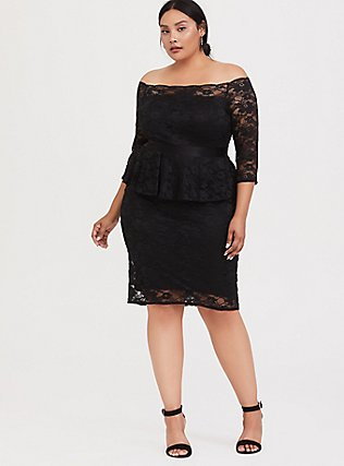 Special Occasion Black Lace Off Shoulder Peplum Shift Dress, DEEP BLACK, alternate