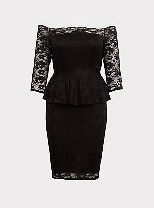 Special Occasion Black Lace Off Shoulder Peplum Shift Dress, DEEP BLACK, flat