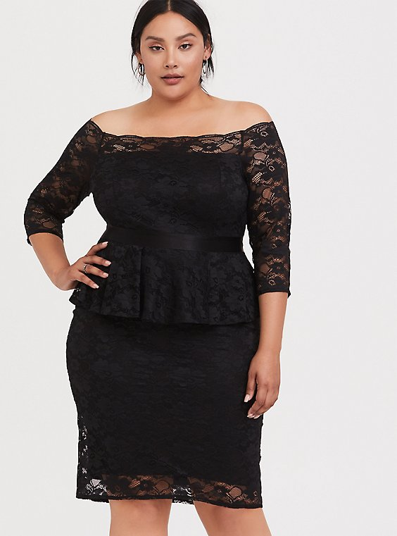 Plus Size Special Occasion Black Lace Off Shoulder Peplum Shift Dress, , hi-res