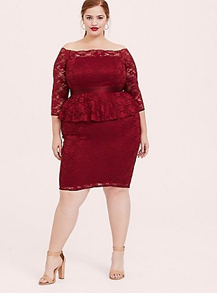 Special Occasion Dark Red Lace Off Shoulder Peplum Shift Dress, BIKING RED, alternate