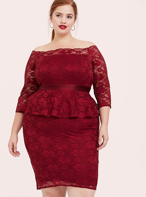 Plus Size Special Occasion Dark Red Lace Off Shoulder Peplum Shift Dress, , hi-res