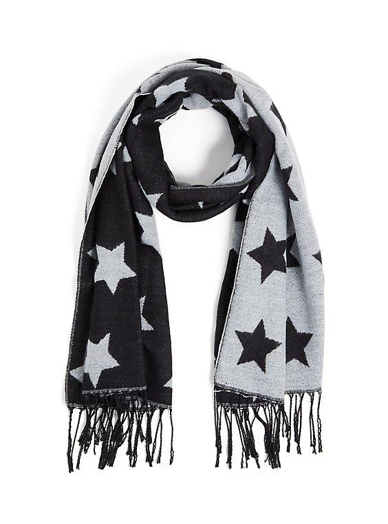 Plus Size Black & Light Grey Star Fringe Scarf, , hi-res