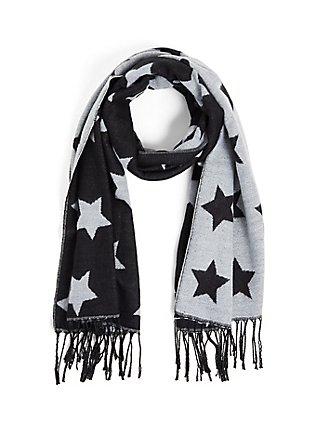 Black & Light Grey Star Fringe Scarf, , hi-res