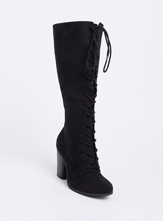 Black Faux Suede Lace-Up Tall Boot (Wide Width), , hi-res