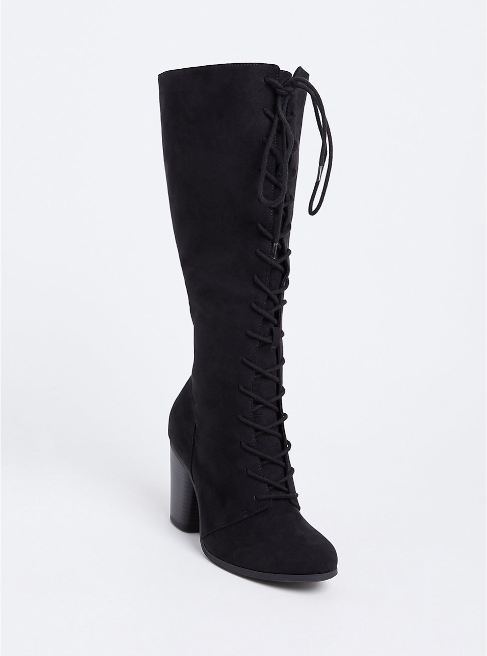 Black Faux Suede Lace-Up Tall Boot (WW), BLACK, hi-res