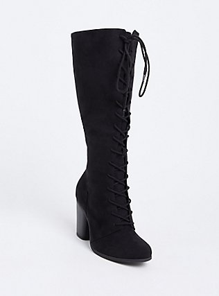 Black Faux Suede Lace-Up Tall Boot (Wide Width), BLACK, hi-res