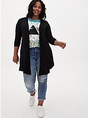Super Soft Black Fit & Flare Cardigan, DEEP BLACK, alternate