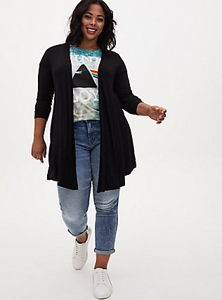 Plus Size Super Soft Black Fit & Flare Cardigan, DEEP BLACK, alternate
