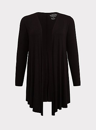Plus Size Super Soft Black Fit & Flare Cardigan, DEEP BLACK, flat