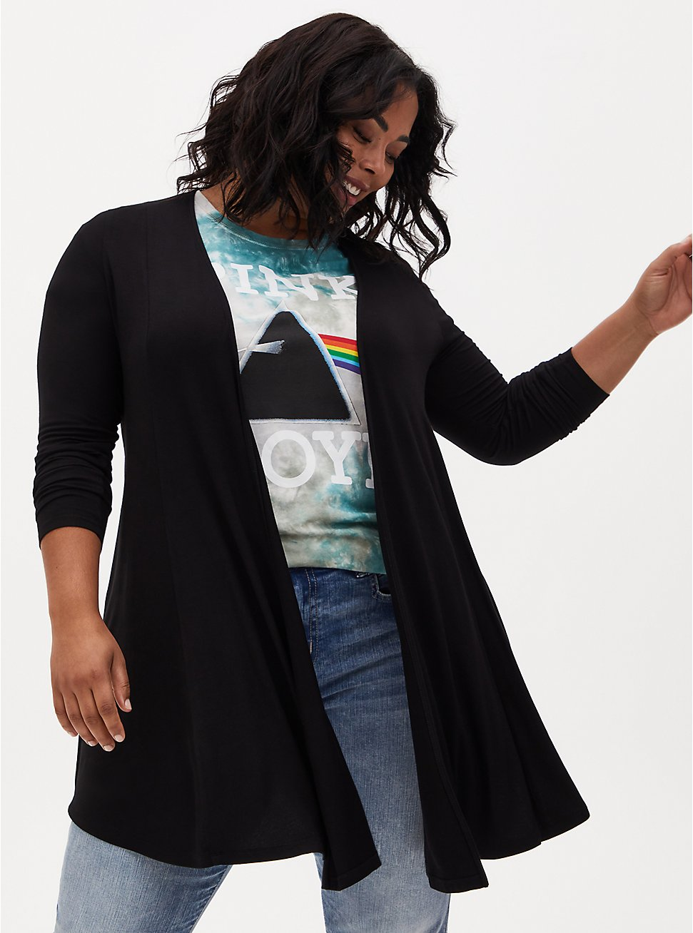 Super Soft Black Fit & Flare Cardigan, DEEP BLACK, hi-res
