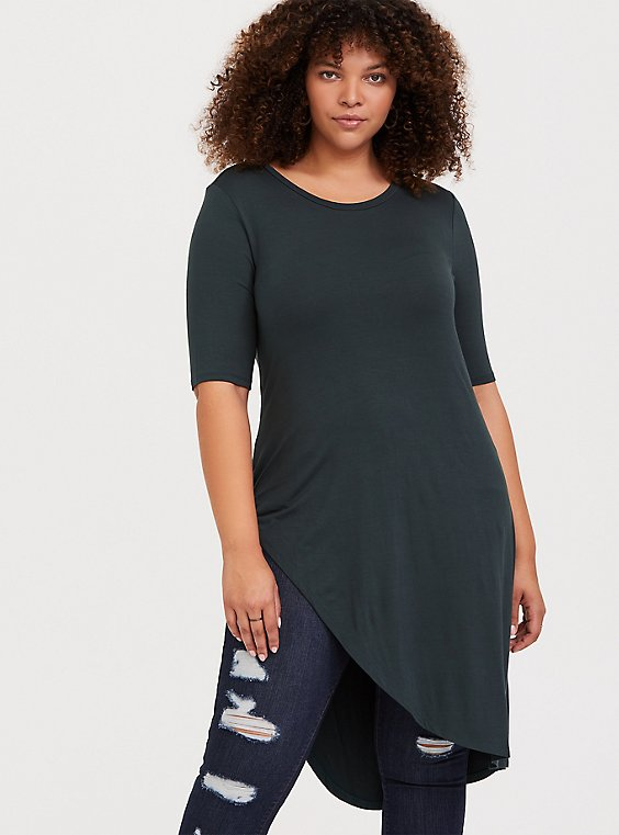 Super Soft Green Knotted Asymmetrical Tunic Tee, , hi-res