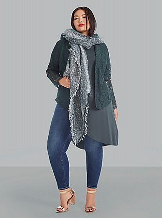 Plus Size Green & White Marled Scarf, , pdped