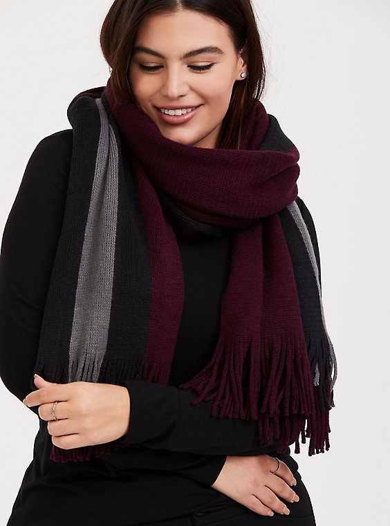 Burgundy & Grey Stripe Soft Fringe Scarf, , hi-res