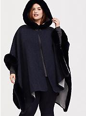Dark Blue Fur Trim Hooded Ruana, , alternate